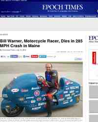 Bill Warner Motorcycle Racer Dies in 285 MPH: Epoch Times